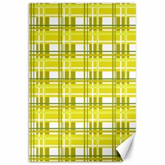 Yellow Plaid Pattern Canvas 24  X 36  by Valentinaart