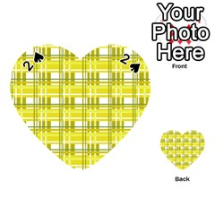 Yellow Plaid Pattern Playing Cards 54 (heart)  by Valentinaart
