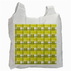 Yellow Plaid Pattern Recycle Bag (one Side) by Valentinaart