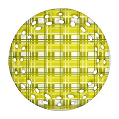 Yellow plaid pattern Ornament (Round Filigree)  by Valentinaart