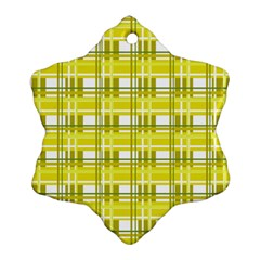 Yellow Plaid Pattern Ornament (snowflake)  by Valentinaart