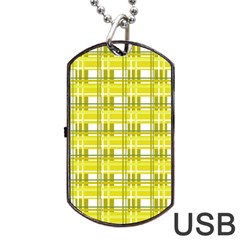 Yellow Plaid Pattern Dog Tag Usb Flash (two Sides)  by Valentinaart