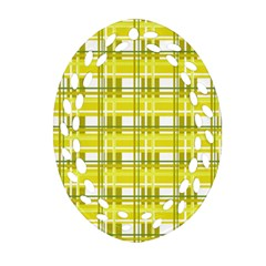 Yellow Plaid Pattern Oval Filigree Ornament (2 Side)  by Valentinaart
