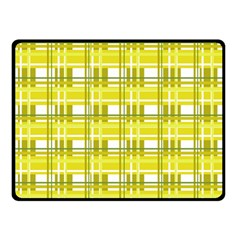 Yellow Plaid Pattern Double Sided Fleece Blanket (small)  by Valentinaart