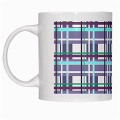 Decorative Plaid Pattern White Mugs by Valentinaart