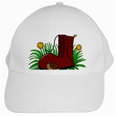 Boot In The Grass White Cap by Valentinaart