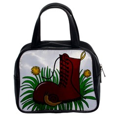 Boot In The Grass Classic Handbags (2 Sides) by Valentinaart
