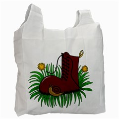 Boot In The Grass Recycle Bag (two Side)  by Valentinaart