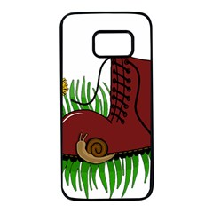 Boot In The Grass Samsung Galaxy S7 Black Seamless Case by Valentinaart