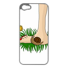 Barefoot In The Grass Apple Iphone 5 Case (silver) by Valentinaart