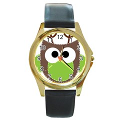 Clip Art Animals Owl Round Gold Metal Watch by Onesevenart