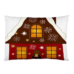 Christmas House Clipart Pillow Case by Onesevenart