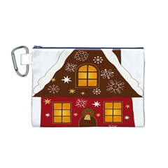 Christmas House Clipart Canvas Cosmetic Bag (m) by Onesevenart