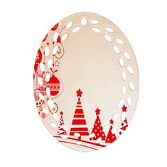 Christmas Clipart Wallpaper Oval Filigree Ornament (2 Side)  by Onesevenart