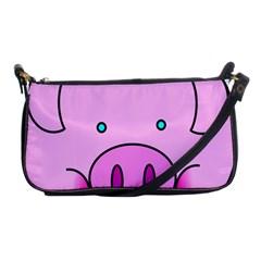 Pink Pig Christmas Xmas Stuffed Animal Shoulder Clutch Bags by Onesevenart