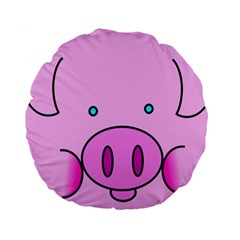 Pink Pig Christmas Xmas Stuffed Animal Standard 15  Premium Round Cushions by Onesevenart