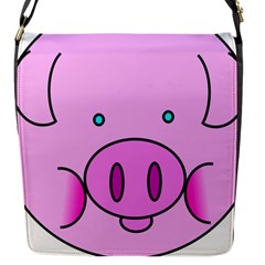 Pink Pig Christmas Xmas Stuffed Animal Flap Messenger Bag (s) by Onesevenart