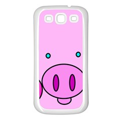 Pink Pig Christmas Xmas Stuffed Animal Samsung Galaxy S3 Back Case (white) by Onesevenart