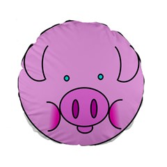 Pink Pig Christmas Xmas Stuffed Animal Standard 15  Premium Flano Round Cushions by Onesevenart