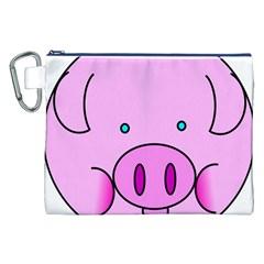 Pink Pig Christmas Xmas Stuffed Animal Canvas Cosmetic Bag (xxl) by Onesevenart