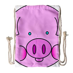 Pink Pig Christmas Xmas Stuffed Animal Drawstring Bag (large) by Onesevenart