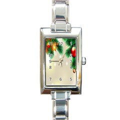 Ornament Christmast Pattern Rectangle Italian Charm Watch by Onesevenart
