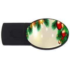 Ornament Christmast Pattern Usb Flash Drive Oval (4 Gb)  by Onesevenart