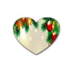 Ornament Christmast Pattern Rubber Coaster (heart)  by Onesevenart