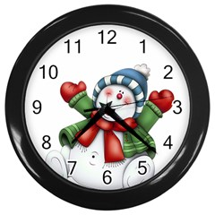 Snowman With Scarf Wall Clocks (Black) by Onesevenart