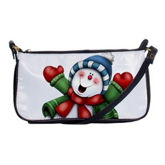 Snowman With Scarf Shoulder Clutch Bags by Onesevenart