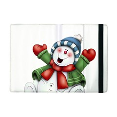 Snowman With Scarf Apple iPad Mini Flip Case by Onesevenart