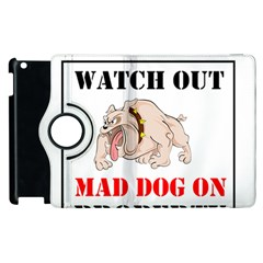 Watch Out Mad Dog On Property Apple Ipad 3/4 Flip 360 Case by Onesevenart