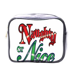 Vintage Christmas Naughty Or Nice Mini Toiletries Bags by Onesevenart