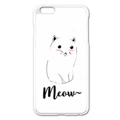 Cute Kitty  Apple Iphone 6 Plus/6s Plus Enamel White Case by Brittlevirginclothing