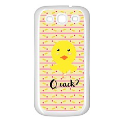 Quack Duck Samsung Galaxy S3 Back Case (white) by Brittlevirginclothing