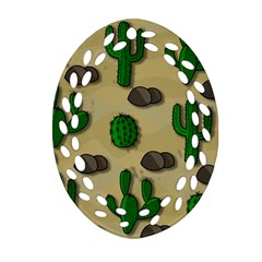 Cactuses Oval Filigree Ornament (2 Side)  by Valentinaart
