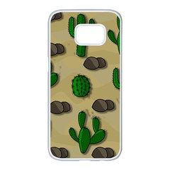 Cactuses Samsung Galaxy S7 Edge White Seamless Case by Valentinaart