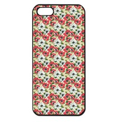 Gorgeous Red Flower Pattern  Apple Iphone 5 Seamless Case (black) by Brittlevirginclothing