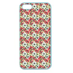 Gorgeous Red Flower Pattern  Apple Seamless Iphone 5 Case (color) by Brittlevirginclothing