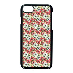 Gorgeous Red Flower Pattern  Apple Iphone 7 Seamless Case (black)