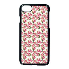 Gorgeous Pink Flower Pattern Apple iPhone 7 Seamless Case (Black) by Brittlevirginclothing