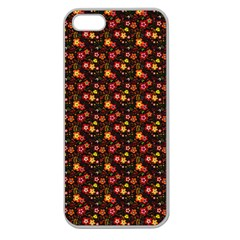 Exotic Colorful Flower Pattern  Apple Seamless iPhone 5 Case (Clear)