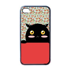 Cute Kitty Hiding Apple Iphone 4 Case (black) by Brittlevirginclothing