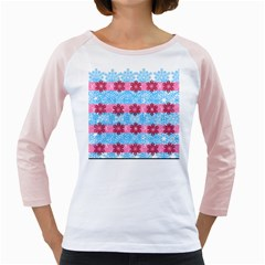 Pink Snowflakes Pattern Girly Raglans by Brittlevirginclothing