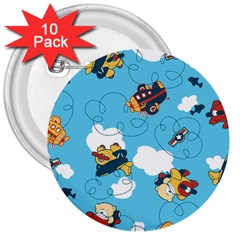 Bear Aircraft 3  Buttons (10 pack)  by AnjaniArt