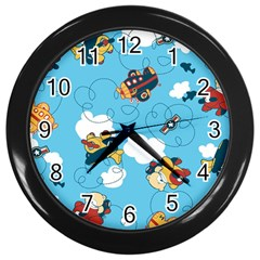 Bear Aircraft Wall Clocks (black) by AnjaniArt