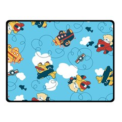 Bear Aircraft Double Sided Fleece Blanket (small)  by AnjaniArt