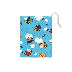 Bear Aircraft Drawstring Pouches (small)  by AnjaniArt