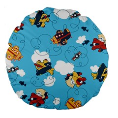 Bear Aircraft Large 18  Premium Flano Round Cushions by AnjaniArt