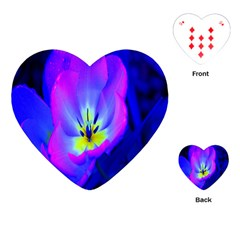 Blue And Purple Flowers Playing Cards (heart)  by AnjaniArt
